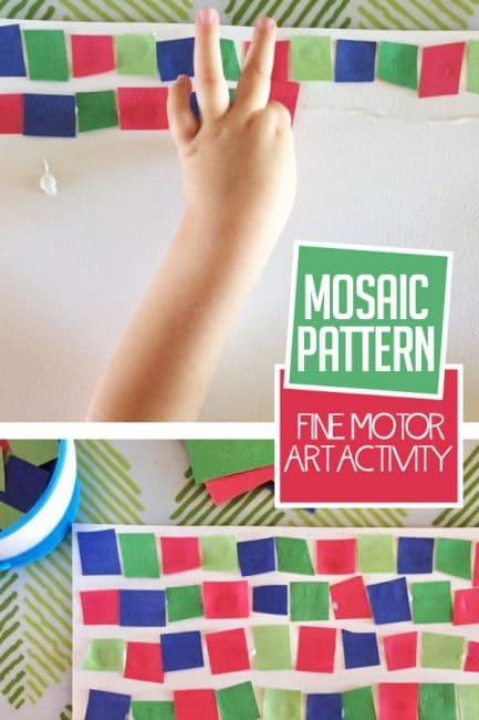 Work on fine motor skills with a mosaic pattern art activity.