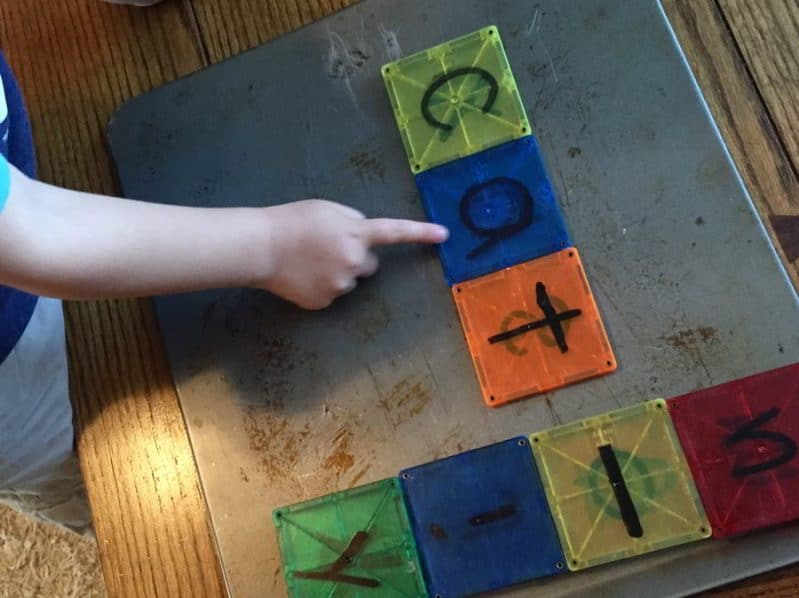 """Give your magnet blocks a makeover and turn them into """"reading blocks!"""" Try this low-prep preschool reading activity for tons of fun!"""