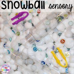Snowball Sensory Bin- Pocket of Preschool