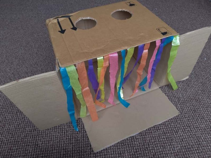 Decorate your DIY sensory guess what's in the box game however you prefer!