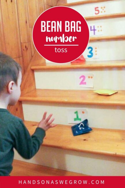 When you combine learning and play, your hands-on activity is naturally fun! Try this bean bag number toss game for kids to help your preschooler learn counting skills.