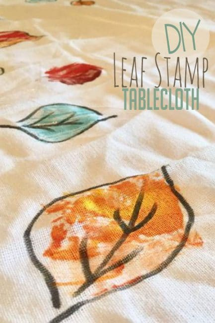 Make a colorful leaf stamp tablecloth! Your kids will love creating their very own tablecloth for Thanksgiving.