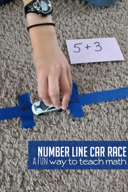Set up a simple number line car race to help build math fact fluency with your child!