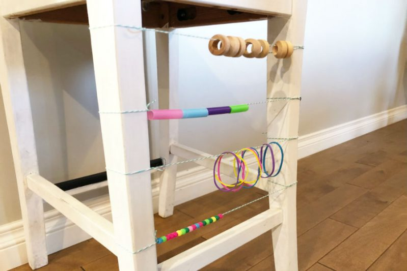 Make a loose parts DIY abacus using loose parts from the junk drawer or toolbox!