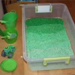 Green Rice Sensory Bin- Little Bins for Little Hands