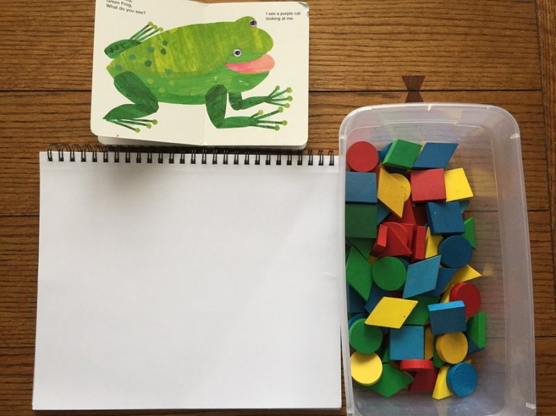 Take the Eric Carle art challenge and create cool abstract art based on your favorite books using only tangram blocks!