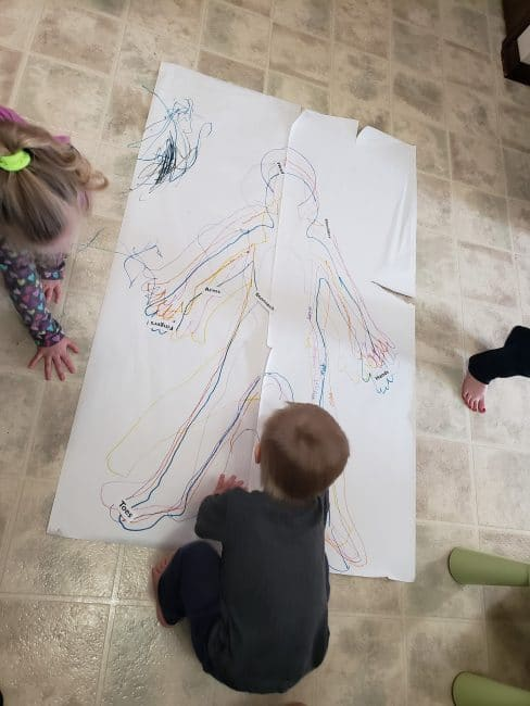 Trace your kid's body - then label the different body parts! Trace around them over and over again to make a rainbow.