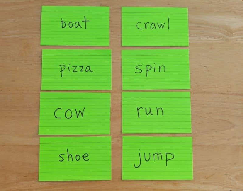 Make your own super simple DIY noun or verb gross motor game to mix movement with learning!