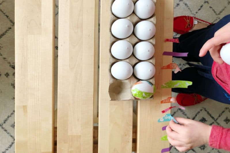 Peel and stick washi tape onto Easter Eggs for mess-free fun!