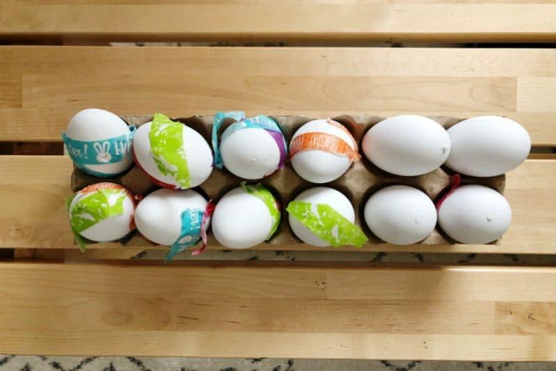 Make pretty Easter Eggs using washi tape for mess-free fun!