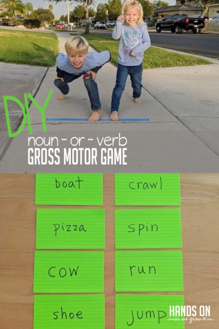 Ready, set, go! Move your way to understanding nouns and verbs with a fun gross motor game!