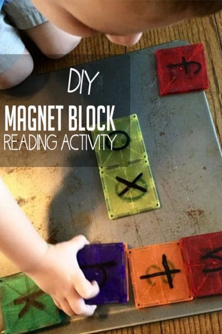 Make your own beginning reading activity using magnet blocks! Your child will be building words and literacy skills while they play!