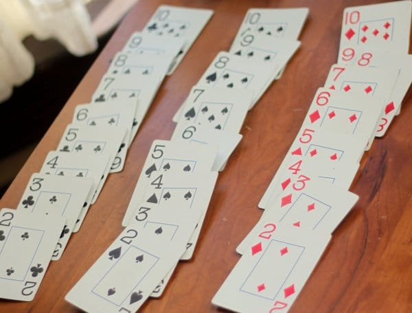 Sorted playing cards
