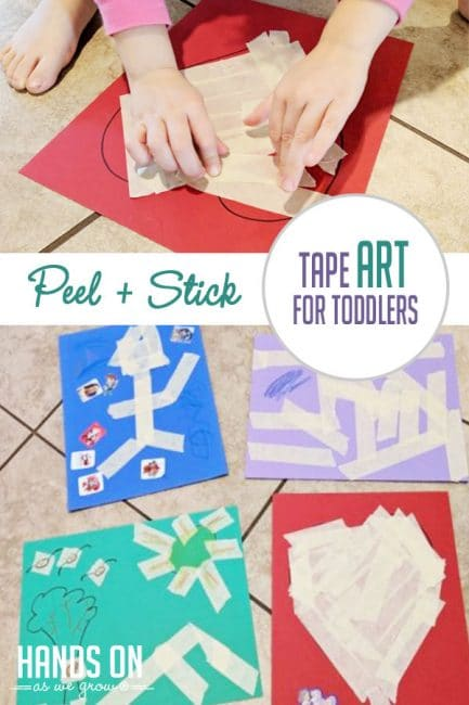 Make art that sticks with peel and stick tape art for toddlers!
