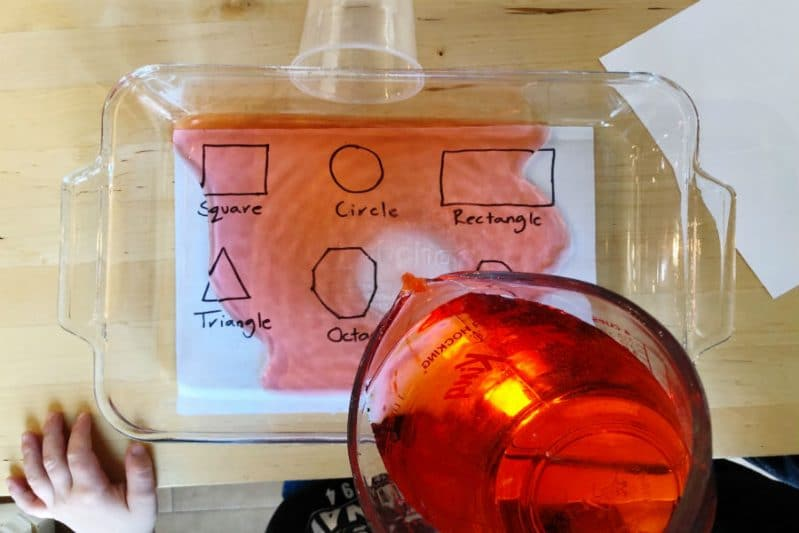 Add colored water to make your shapes activity even more fun!