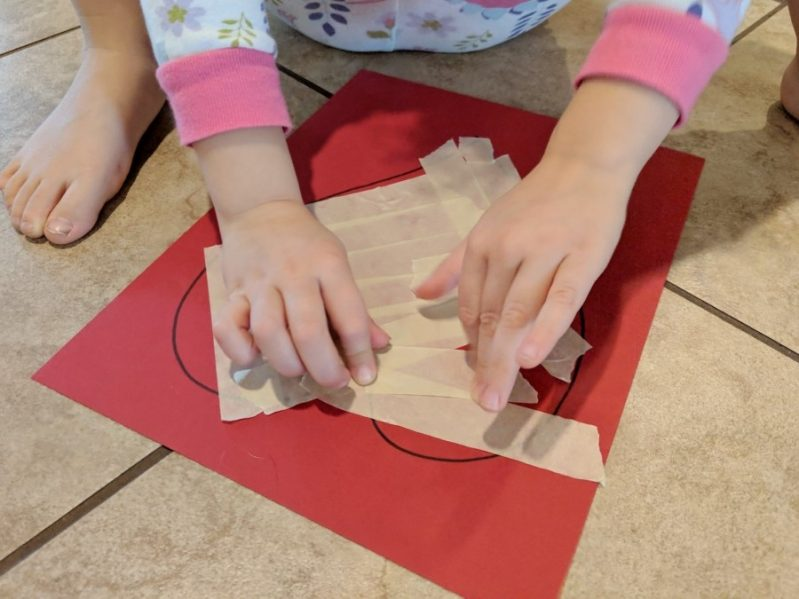 Stick your tape to the paper to create fun, mess-free art!