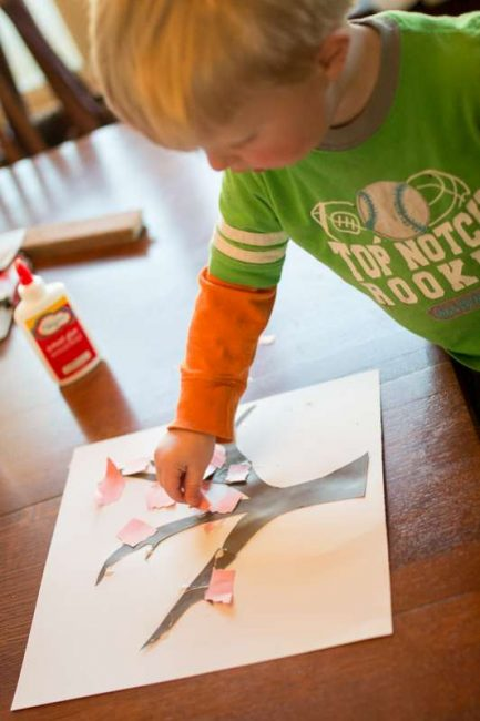 Practice gluing skills when you make a spring tree craft with your toddler