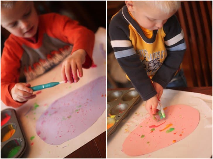 We loved making egg splatter painting with toothbrushes!