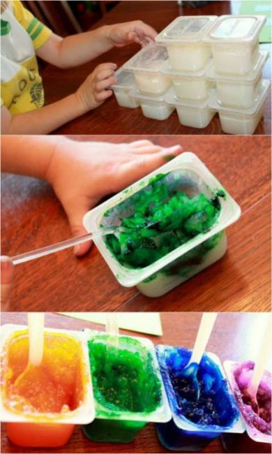 Make homemade edible finger paints with your toddler for sensory art fun!