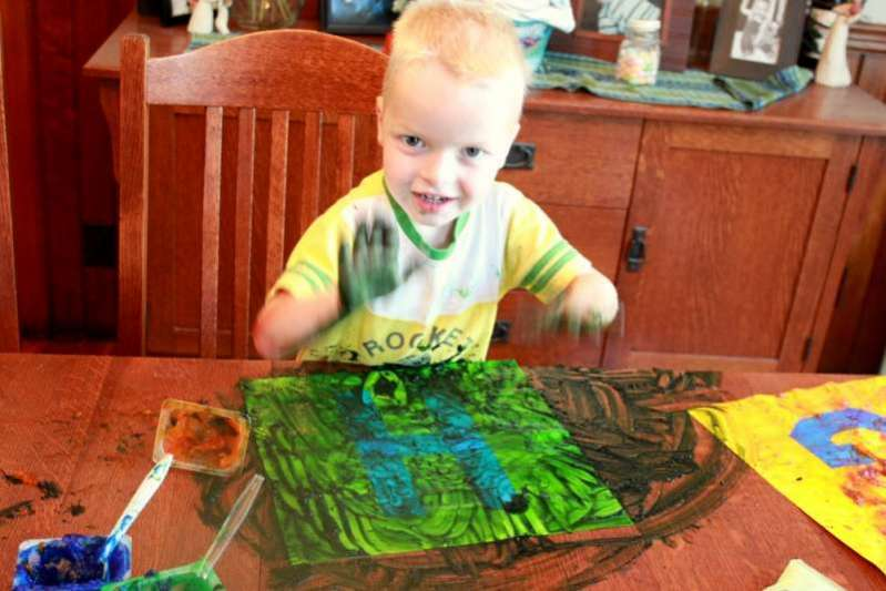 Get messy with a sensory art project for toddlers!