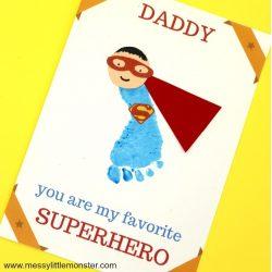 Footprint Superhero Card- Messy Little Monster