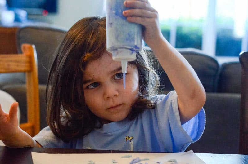 We loved watching the DIY puffy paint drop and plop onto the paper!
