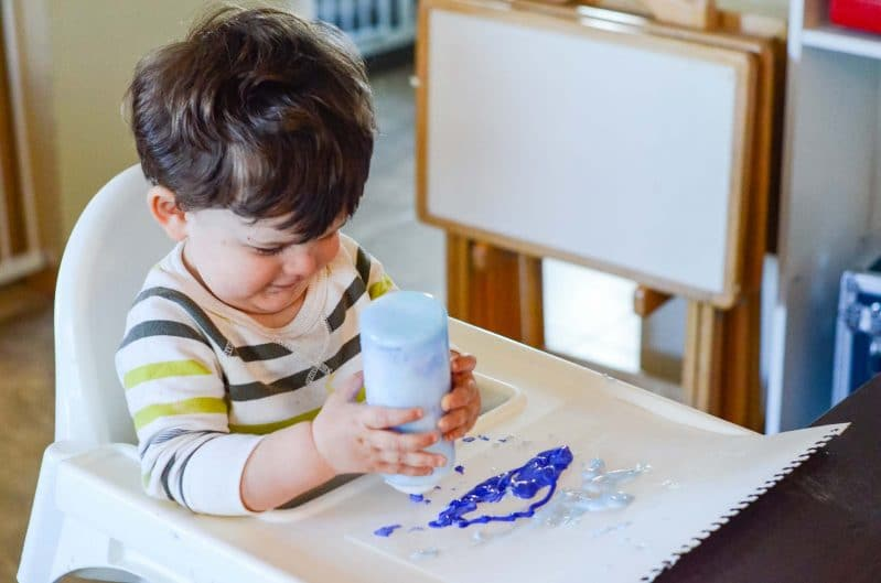 Add less flour and more water or shaving cream to adapt this for young toddlers/older babies.