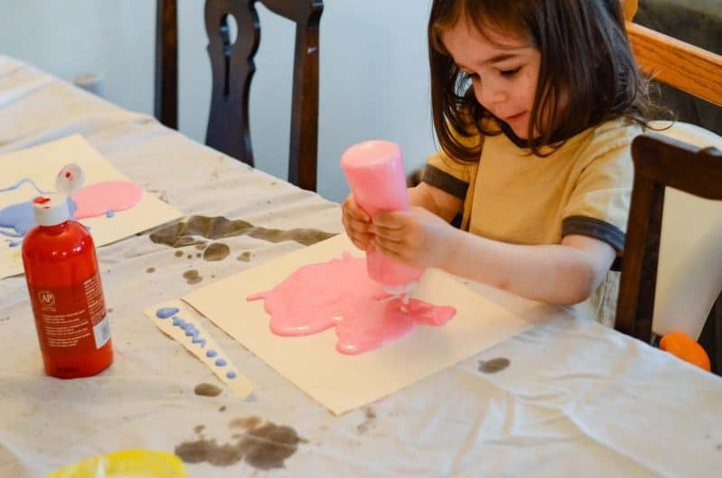 Have puddles? Turn your DIY puffy paint activity into process art!