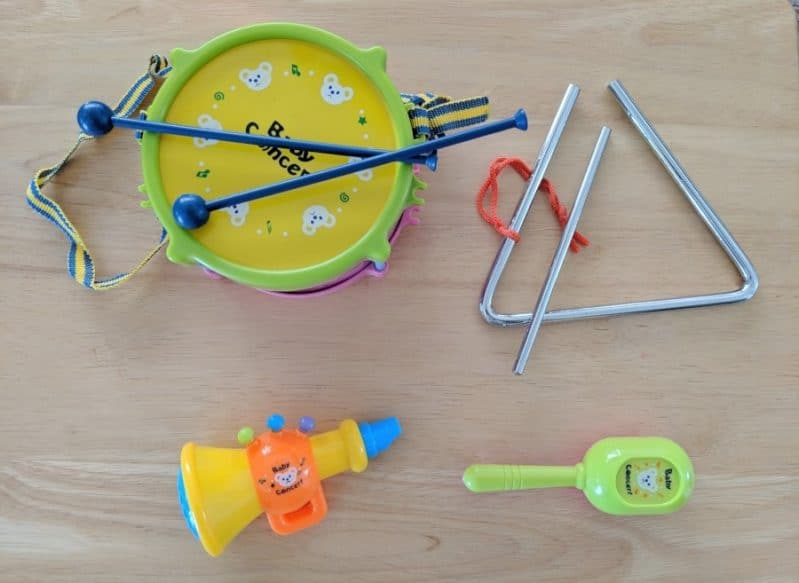 Grab some instruments for a move and listen activity for preschoolers
