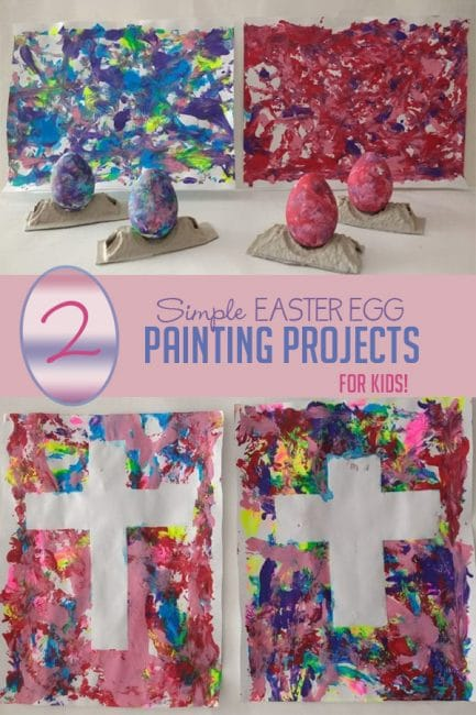 Make two super fun and easy Easter crafters for kids! Roll and paint with Easter eggs, then create tape resist crosses together for a full day of spring crafting fun!