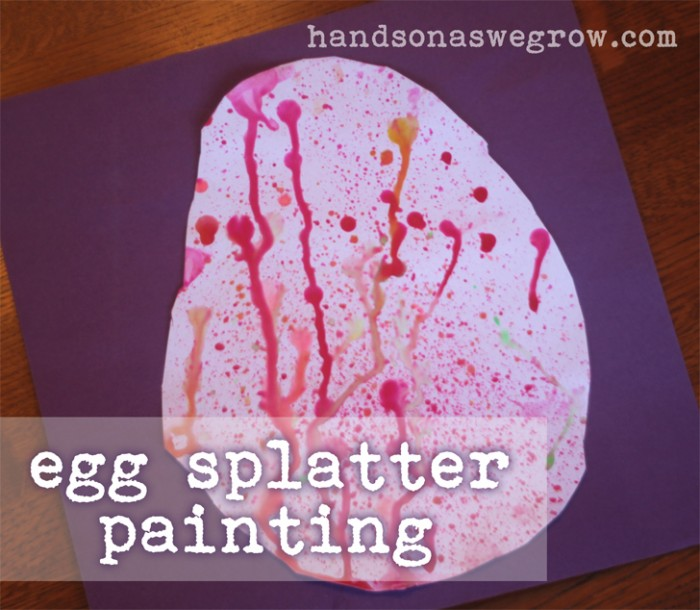 An egg splatter painting is a great creative Easter art activity for preschoolers!