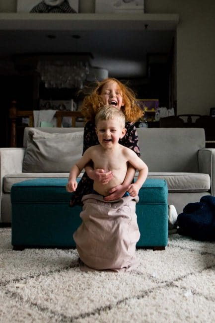 Can you do a pillowcase hop with a sibling or friend? Challenge your kids!