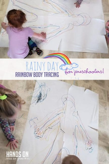 Try a creative hands-on tracing activity with your preschooler on the next rainy day!