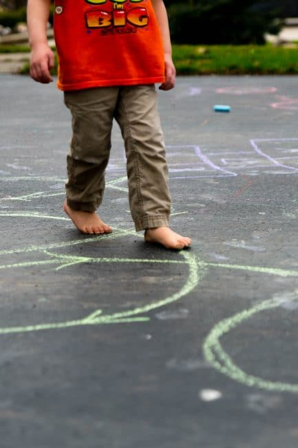 Can you walk the line in this sidewalk chalk obstacle course? Add arrows to show which direction to follow!