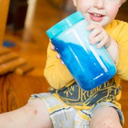 Soapy sensory jar for toddlers