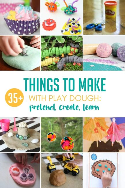 Get creative and break out of your play dough rut! Try these 35+ ideas of things to make and do to play, create, and learn with play dough.
