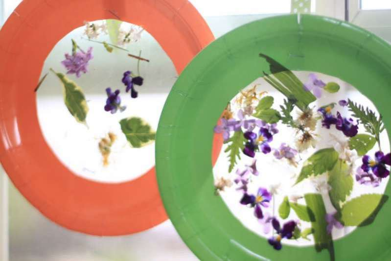 Use flowers and plants to make a DIY nature collage suncatcher!