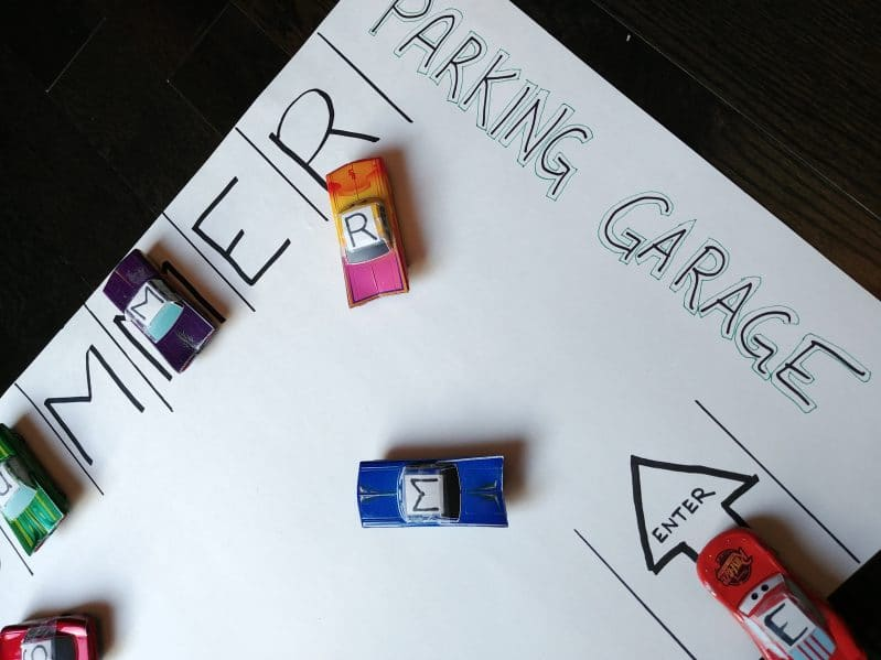 Make your own DIY toy garage to practice matching skills with any new content your child is learning!