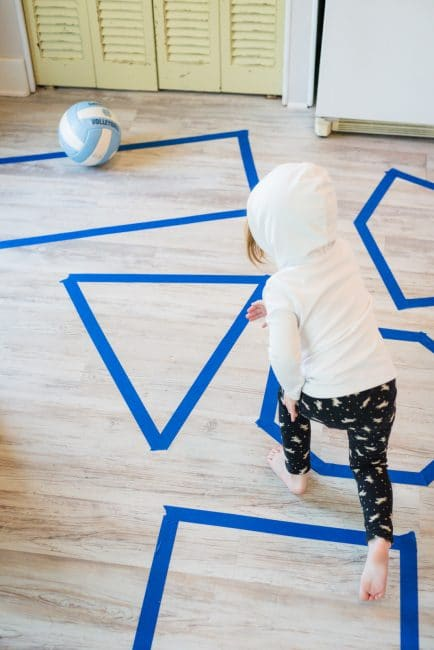 Throw, roll, or jump around on your quest to learning shapes together!