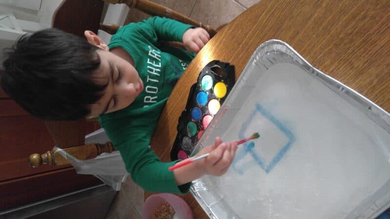 Mix a little science into your next art time with a cool frozen painting experiment!