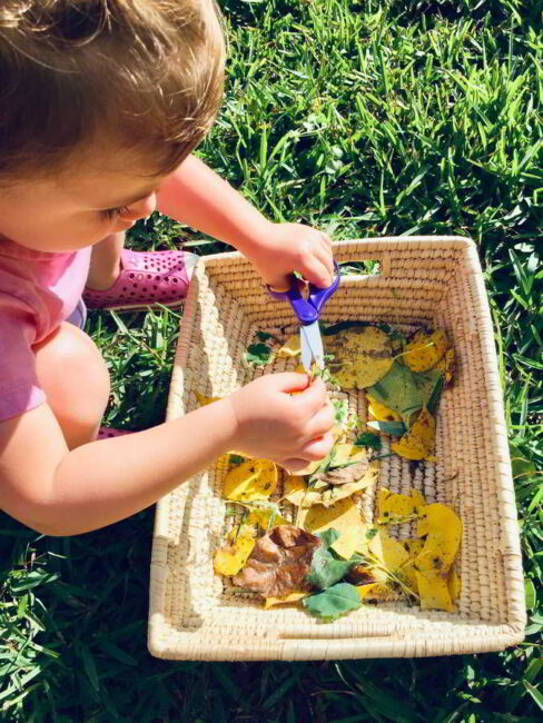 This fine motor leaf cutting activity takes no time to prep. Plus it builds scissor skills!