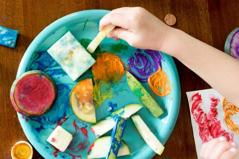 Stamp and paint with veggies! It's a fun and creative way to make art!