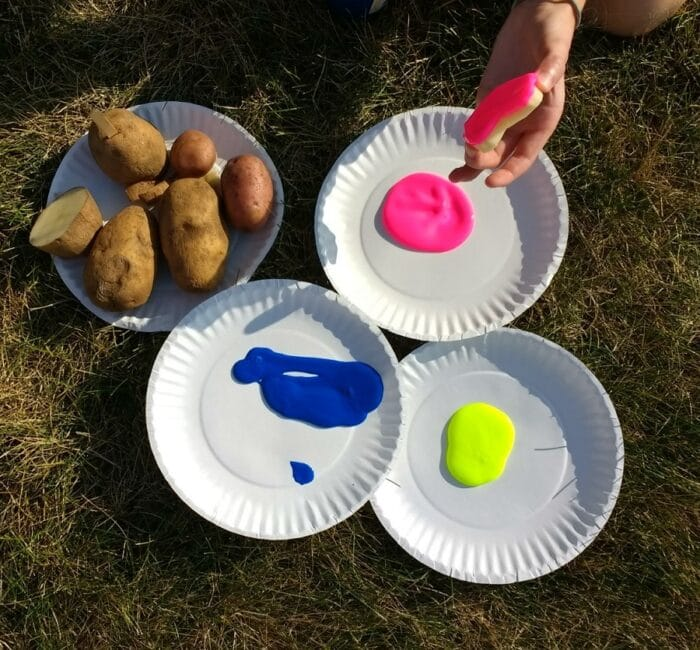 Try a potato drop painting for your next outdoor art project.