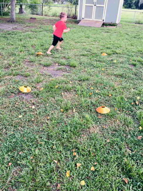This fun gross motor ABC football drill is perfect for crisp fall days!