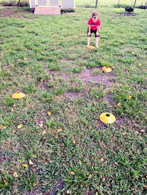 Set up cones outside for a fun gross motor ABC football drill!