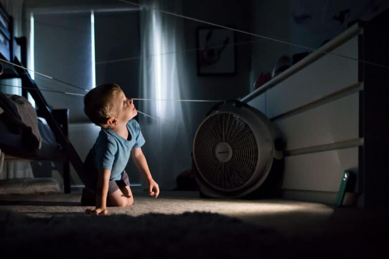 Use a flashlight to hunt high and low for DIY arachnids!