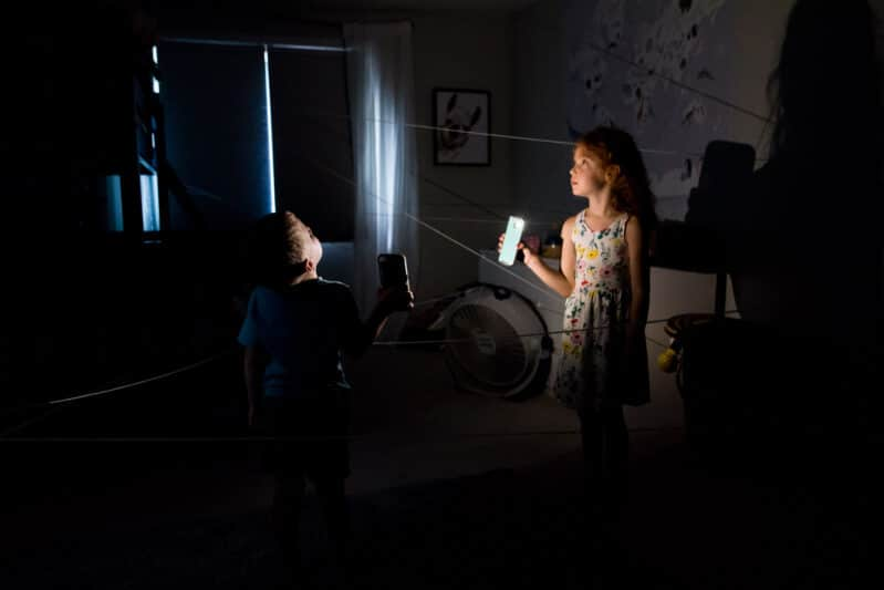 Shine the light and find the spider with a cool flashlight Halloween hunt!
