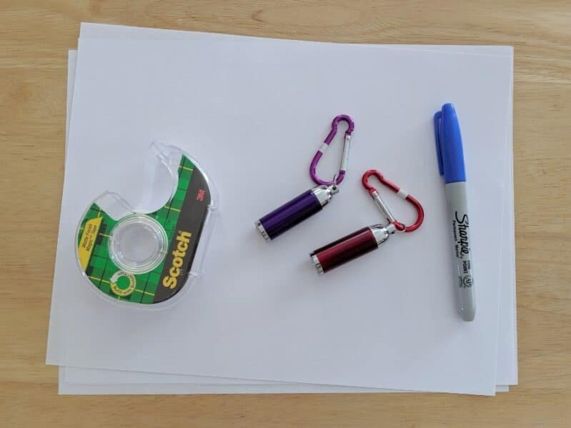 Set up for a simple DIY learning game with supplies you already have!