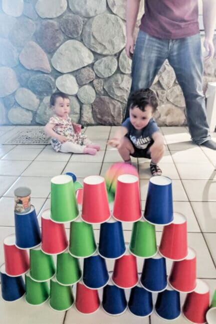 Set up a cool hands-on challenge that even little ones can enjoy! We love this idea from MOTM Melinda!