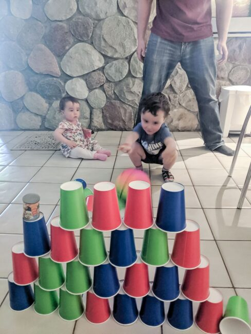 You'll love this indoor energy burning cup stacking challenge!